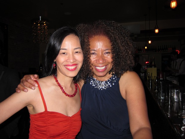 Lia Chang & Lorey Hayes at Flute Champagne Bar in NYC on April 17, 2013